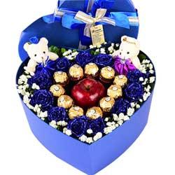 11支蓝玫瑰巧克力,苹果礼盒,心儿只有你