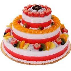 生日的光芒/三层圆形鲜奶水果蛋糕