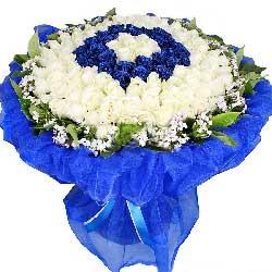 生生世世永相依/99支蓝白玫瑰