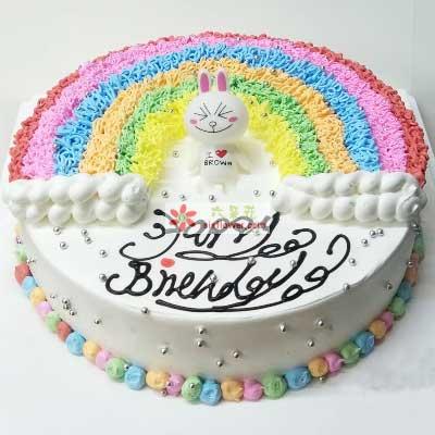 快快乐乐没烦恼/8寸圆形彩虹奶油蛋糕