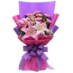 11支粉色康乃馨百合,幸福岁岁年年