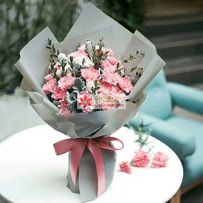 遥远的爱/16支粉色康乃馨,5支香槟玫瑰