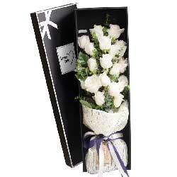 爱你永不放开/19支白色玫瑰