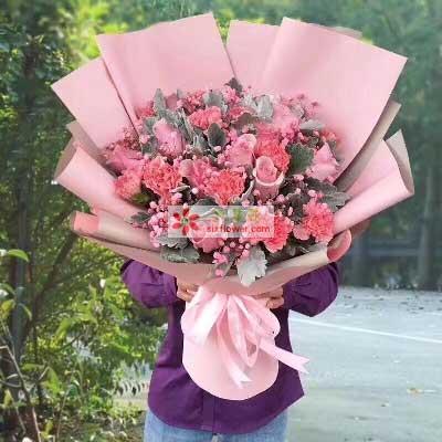 永远年轻/9枝粉色康乃馨,9枝粉色玫瑰