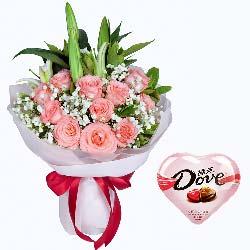 内心的爱/粉玫瑰11支