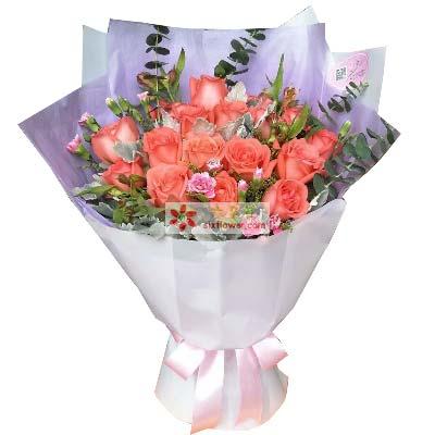 心心相印的爱情/19支粉色玫瑰