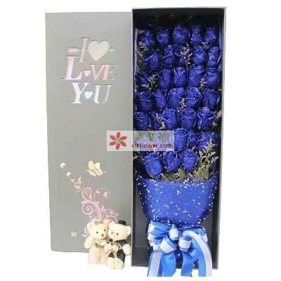 33支蓝色玫瑰礼盒,拥有你