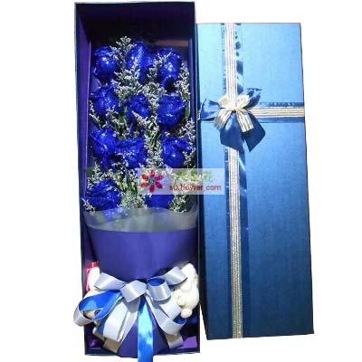 请做我幸福的新娘/11枝蓝色玫瑰礼盒