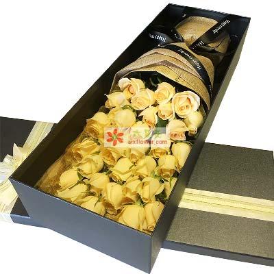 爱的相思/33枝香槟玫瑰礼盒
