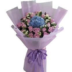 爱的五线谱/21支紫色玫瑰绣球花