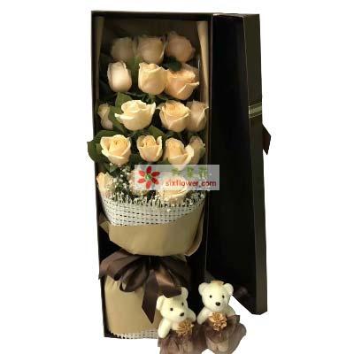 爱的温暖/19支香槟玫瑰礼盒