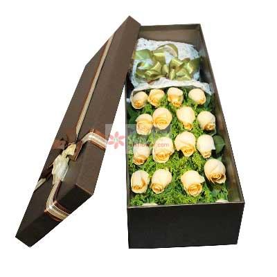 16朵香槟玫瑰,礼盒装,爱的琴键