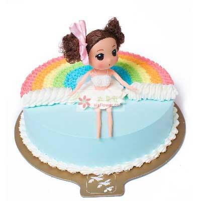 8寸彩虹女孩蛋糕,永远幸福