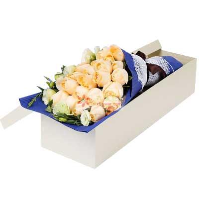 21朵香槟玫瑰,盒装玫瑰花,想念的甜蜜