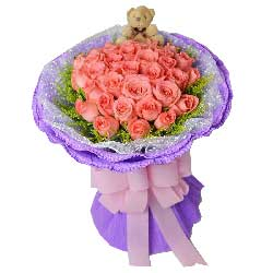 33朵艳粉玫瑰,相亲相爱共同度过最美好每一天