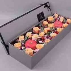 永生永世在一起/19支香槟玫瑰礼盒加苹果