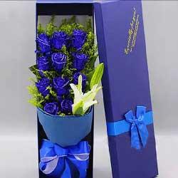 11朵蓝玫瑰,1支白色多头百合,我想你了