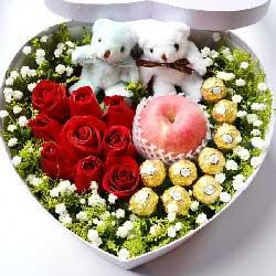 9朵红玫瑰,巧克力,苹果礼盒装,爱你直到永久