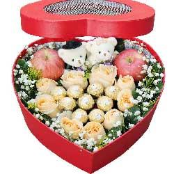 9朵香槟玫瑰,礼盒装苹果鲜花,每天都爱你