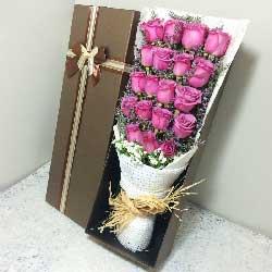 19朵紫玫瑰,礼盒装,老婆爱你一生一世