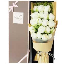 19朵白玫瑰,礼盒装,时刻都想你