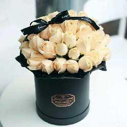 33朵香槟玫瑰,桶装礼盒,深深爱上你