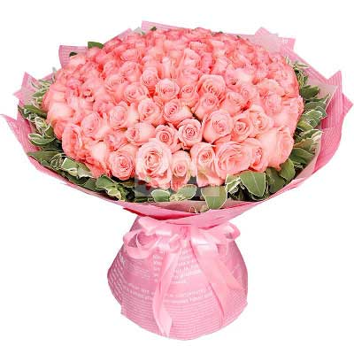 99朵戴安娜粉玫瑰,爱的奉献