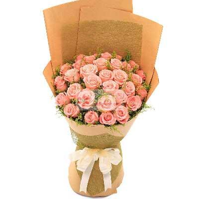 29朵戴安娜粉玫瑰,一生快乐