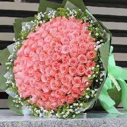 99朵戴安娜粉玫瑰,爱你永远