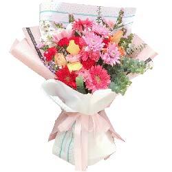 9朵扶郎花,8朵红色康乃馨,美丽绽放