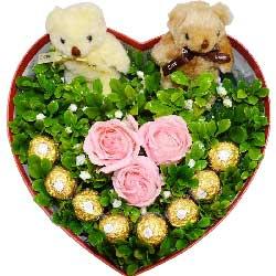 3朵戴安娜粉玫瑰,8颗巧克力,相爱的感觉