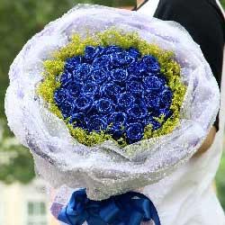 32朵蓝色玫瑰,有你人生很精彩