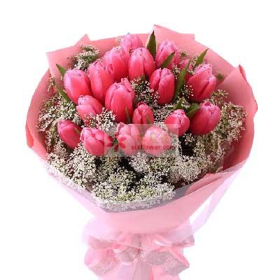 18朵红色郁金香,珍爱你