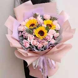 19朵戴安娜玫瑰,3朵向日葵,幸福无边