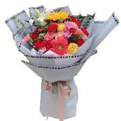 扶郎花+康乃馨+玫瑰+向日葵+百合花,满满的美好记忆