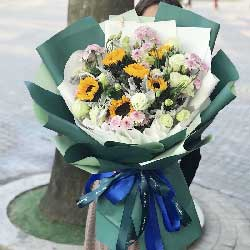 8朵向日葵,12朵桔梗,愿你健康开心