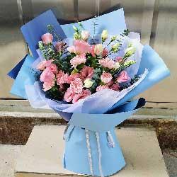 9朵粉玫瑰,16朵粉色桔梗,我永远爱您