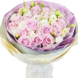 16朵粉色佳人玫瑰,紧紧把你相拥