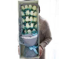 19朵白色玫瑰,礼盒装,爱你到老我愿意