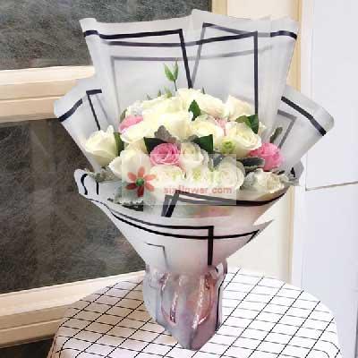 19朵玫瑰,白色+粉色,梦中情人