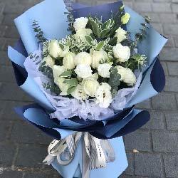 9朵白玫瑰,6朵桔梗,永恒的流星