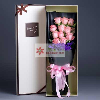 誓言不变/11枝粉色玫瑰礼盒