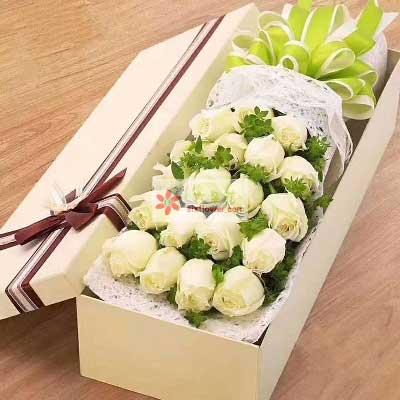 深爱着你/21枝白色玫瑰礼盒