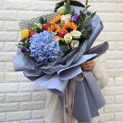 情意暖暖/玫瑰向日葵绣球花组合