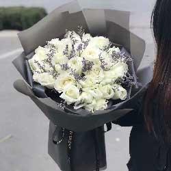 心心相印/21枝白色玫瑰