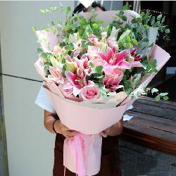 幸福/8枝百合粉色玫瑰