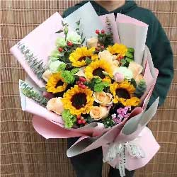 健康幸福一生/6支向日葵+香槟玫瑰