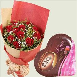 爱意长长绵绵/11支红玫瑰巧克力