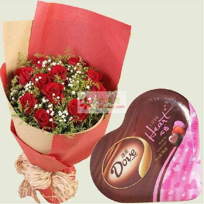爱意长长绵绵/11枝红玫瑰巧克力