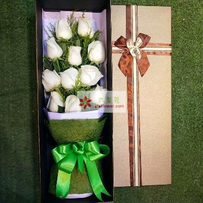 此情不渝/11支白色玫瑰礼盒